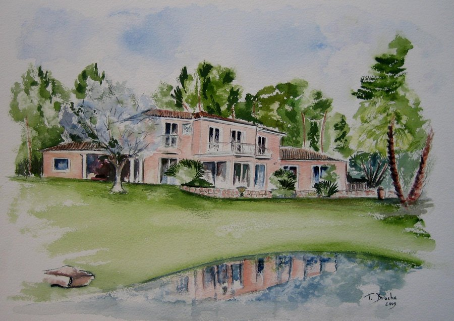 Aquarelle maison for Aquarelle maison de retraite